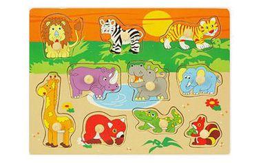 Dětské dřevěné puzzle s úchyty - safari