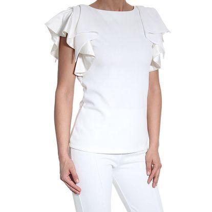 Dámská bílý top s ozdobnými rukávy SforStyle