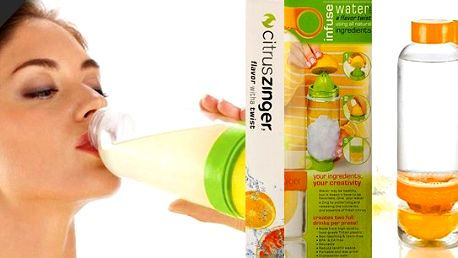 Totální vychytávka - Láhev na výrobu osvěžujících nápojů! Připravte si osvěžující nápoj dle chuti např. z citrónu, pomeranče či mandarinky. Naše láhev obsahuje zabudovaný odšťavňovač, vymačkáte tedy do nápoje vždy čerstvou šťávu plnou vitamínů.