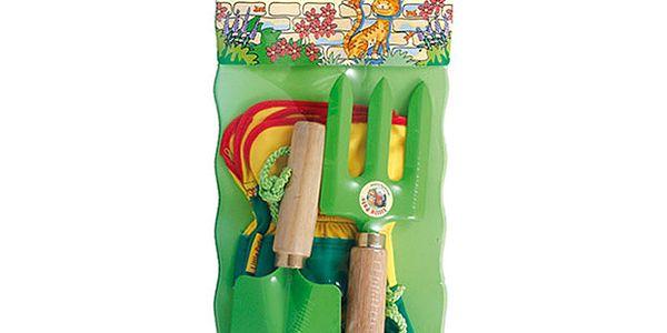 Dětský zahradnický set s podložkou zelený - 4ks