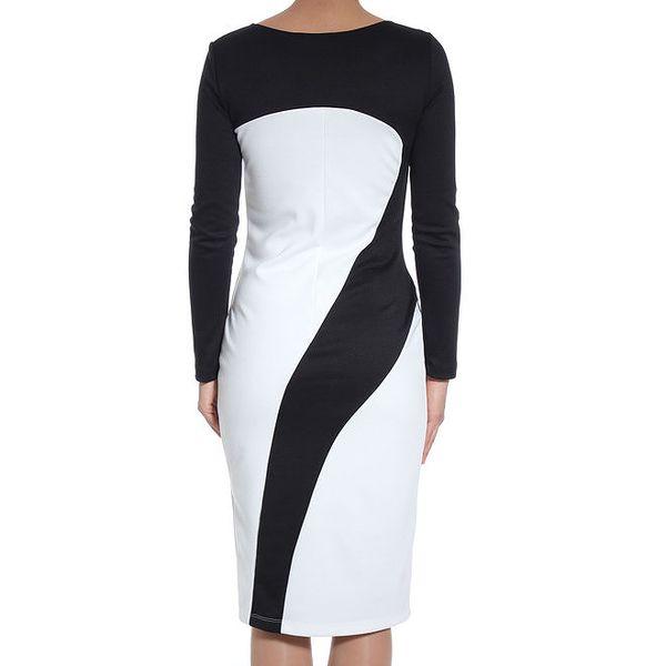 Dámské černo-bílé šaty s dlouhým rukávem SforStyle
