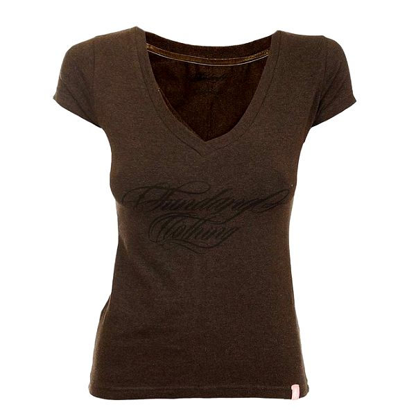 Dámské hnědé tričko s véčkovým výstřihem Fundango