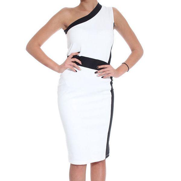 Dámské bílé šaty s černými prvky SforStyle