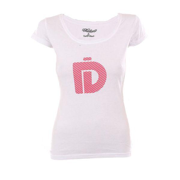 Dámské bílé tričko Fundango s růžovým potiskem