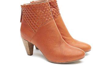 Dámské karamelové kožené boty na podpatku s proplétáním Shoe the Bear
