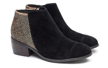 Dámské černé kotníkové boty s puntíky vzadu Shoe the Bear