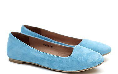 Dámské blankytně modré semišové balerínky Shoe the Bear