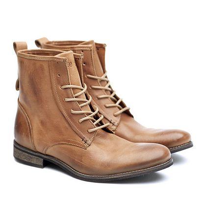 Pánské světle hnědé kožené šněrovací boty Shoe the Bear