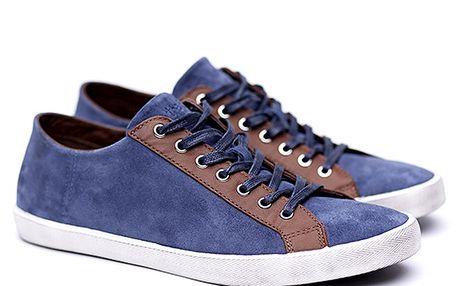 Pánské semišové modro-hnědé tenisky Shoe the Bear