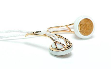 Bílá sluchátka se zlatými prvky Frends