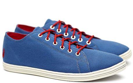 Pánské nízké modré tenisky s červeným tkaničkami Shoe the Bear