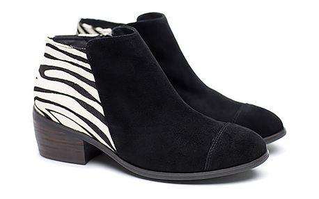 Dámské černé kotníkové boty se zebrou vzadu Shoe the Bear