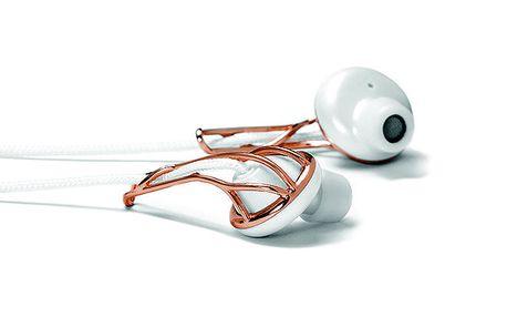 Bílá sluchátka s růžově zlatými prvky Frends