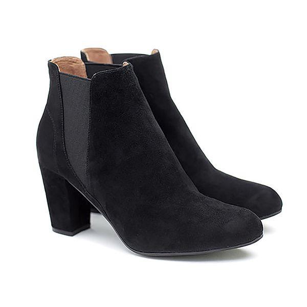 Dámské černé semišové kotníčkové boty na podpatku Shoe the Bear