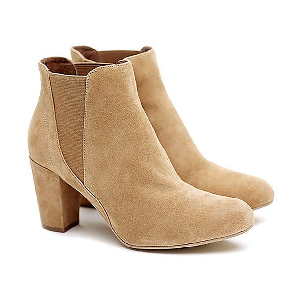 Dámské krémové semišové kotníčkové boty na podpatku Shoe the Bear