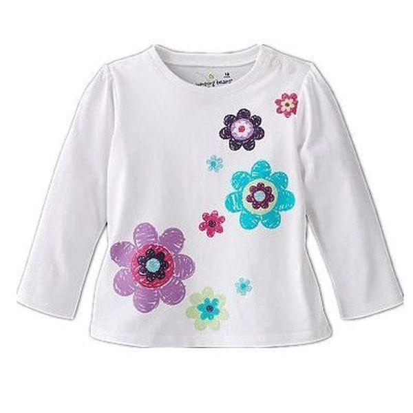 Dívčí triko dlouhý rukáv - kytičky vel. 3 roky