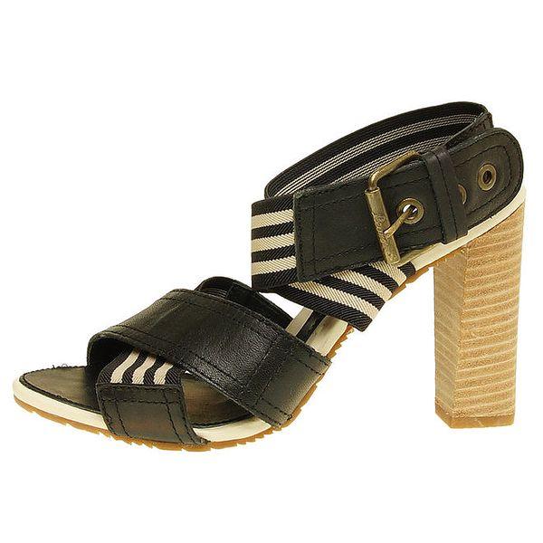 Dámské černo-béžové sandálky na vysokém podpatku Levi's