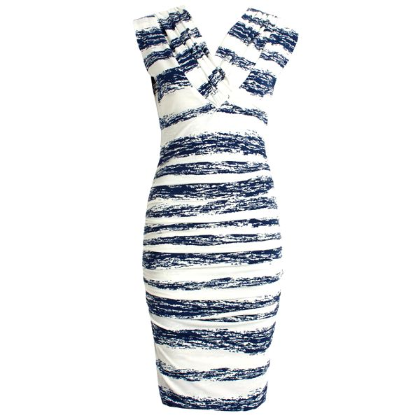 Dámské bílé šaty s modrými pruhy a véčkovým výstřihem JDC London