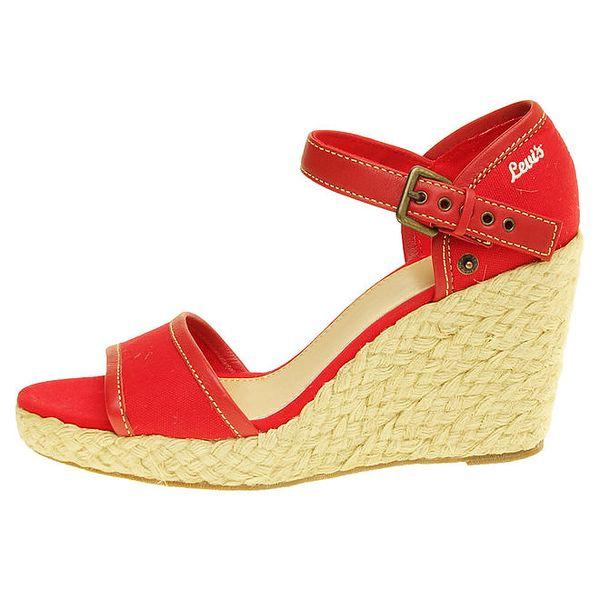 Dámské červené sandály Levi's na jutovém klínu