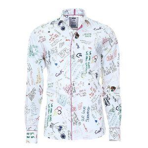 Pánská bílá košile s barevným potiskem Pontto