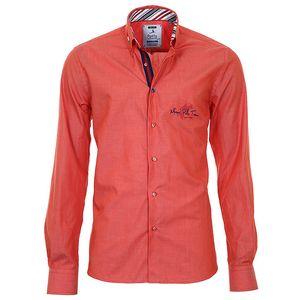 Pánská oranžová košile s pruhovanými manžetami Pontto