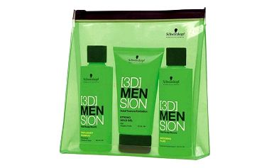 Schwarzkopf 3DMENsion Travelkit dárková sada M - 100ml Hair Body Shampoo + 75ml Strong Hold Gel + 100ml Grooming Fluid + Bag