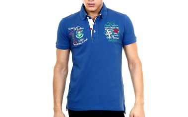 Pánské modré polo tričko s výšivkou Pontto