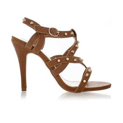 Dámské hnědé sandálky se zlatými cvočky Obelia