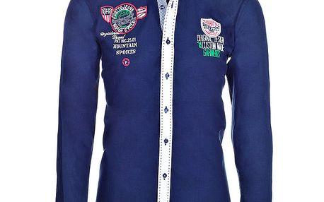 Pánská tmavě modrá košile s kontrastní légou Pontto