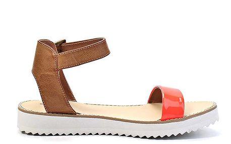 Dámské oranžové sandálky na nízké platformě Timeless