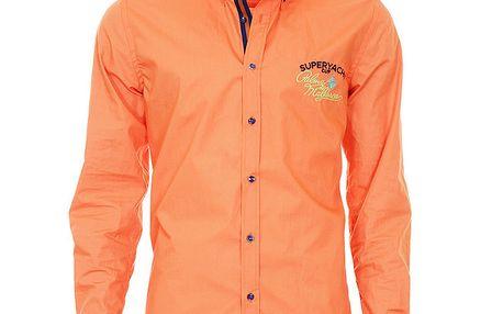 Pánská oranžová košile se vzorovanými manžetami Pontto