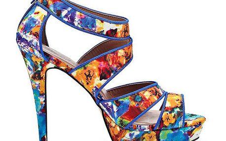Dámské modré sandálky s květinovým potiskem Timeless