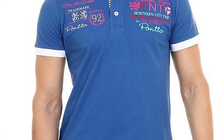Pánské modré polo tričko s bílým límečkem Pontto