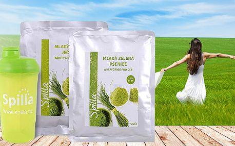 Zelená mladá pšenica + Zelený mladý ječmen + Shaker Spilla ZDARMA