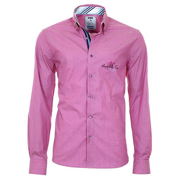 Pánská růžová košile s pruhovanými manžetami Pontto