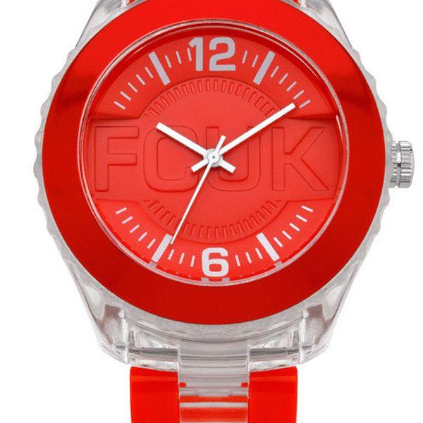 Pánské černo-červené hodinky FCUK