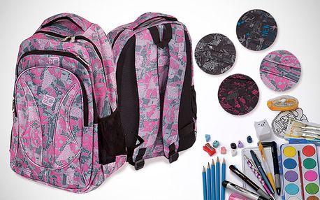 Batoh plný školních potřeb