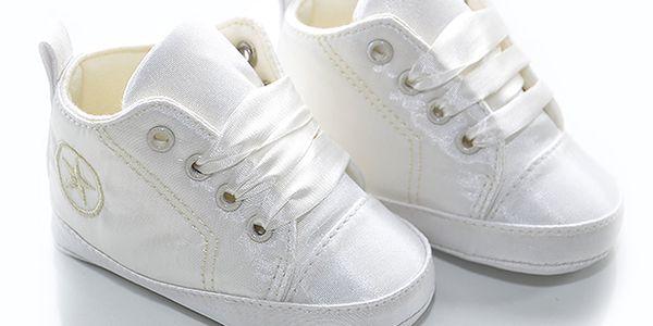 Krémové saténové botičky s hvězdičkou