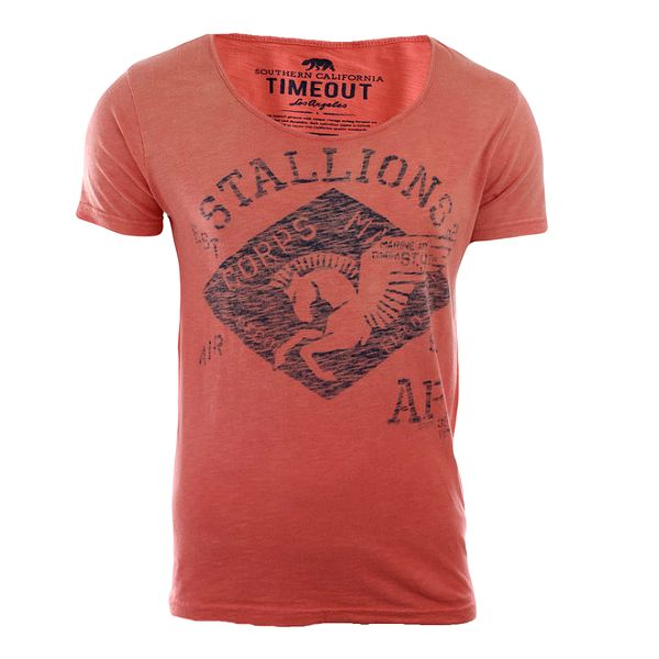 Pánské světle červené tričko s potiskem Timeout