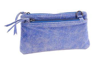 Dámská modrá kožená minikabelka Amylee