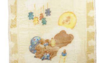 BabyMink - Béžová antibakteriální deka s medvídkem