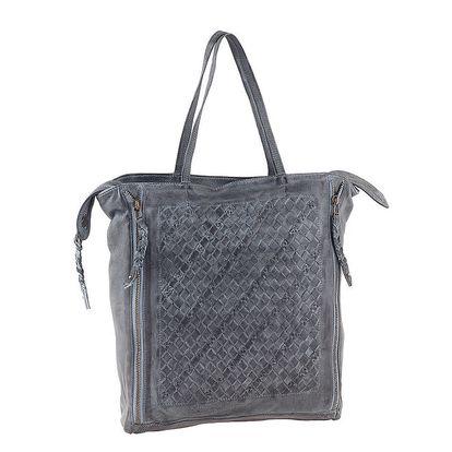 Dámská šedá kožená kabelka se zipovým zapínáním Amylee
