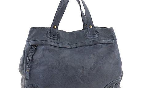 Dámská modrá kožená kabelka s proplétanými rohy Amylee