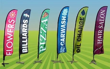 Nepřehlédnutelná reklama Vaší firmy - plnobarevně potištěná vlajka v různých variantách