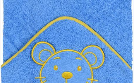 Baby Ono - velká froté osuška s kapucí 100x100cm - modrá - myška 178N