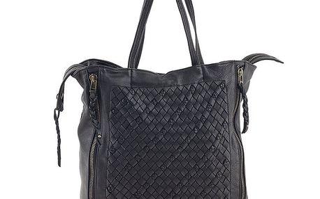 Dámská černá kožená kabelka se zipovým zapínáním Amylee