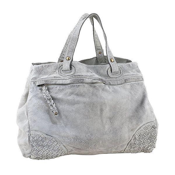 Dámská šedá kožená kabelka s proplétanými rohy Amylee