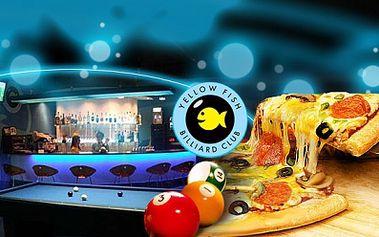 Neodolatelná nabídka! 2 PIZZY + 2 hodiny BILLIARDU na profi stolech v Billiard clubu Yellow Fish za skvělých 199 Kč! Dejte si PIZZU a zahrajte si billiard se slevou 45%!