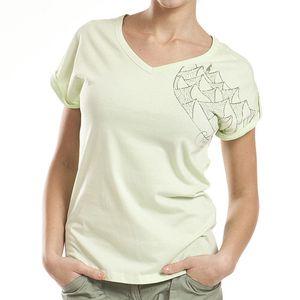 Dámské zelené tričko s véčkovým výstřihem Alpine Pro