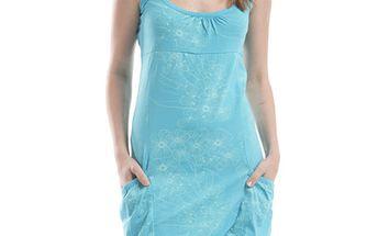 Dámské modré šaty s květinovým potiskem Alpine Pro